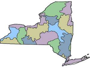 Image of New York State showing watershed areas