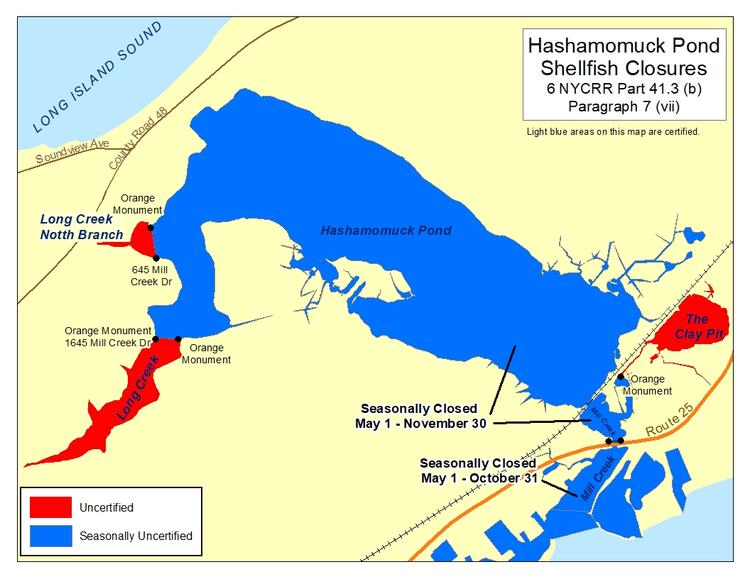 an image of Hashamomuck Pond Shellfish Closures