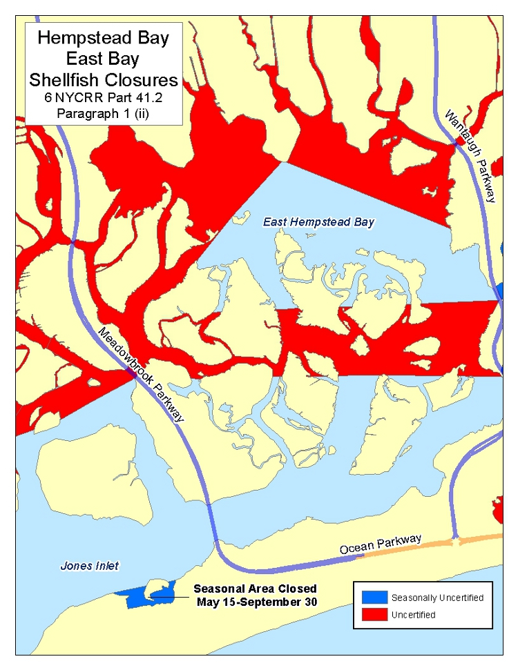 image of shellfish closures in Middle Bay, Town of Hempstead