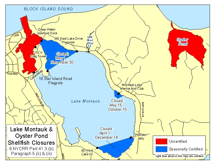 an image of Montauk Lake Shellfish Closures