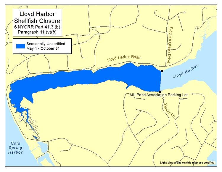 map of Huntington Bay Lloyd Habor Huntington Harbor shellfish closures, Part 41.3, paragraph 11 (ii, vi)