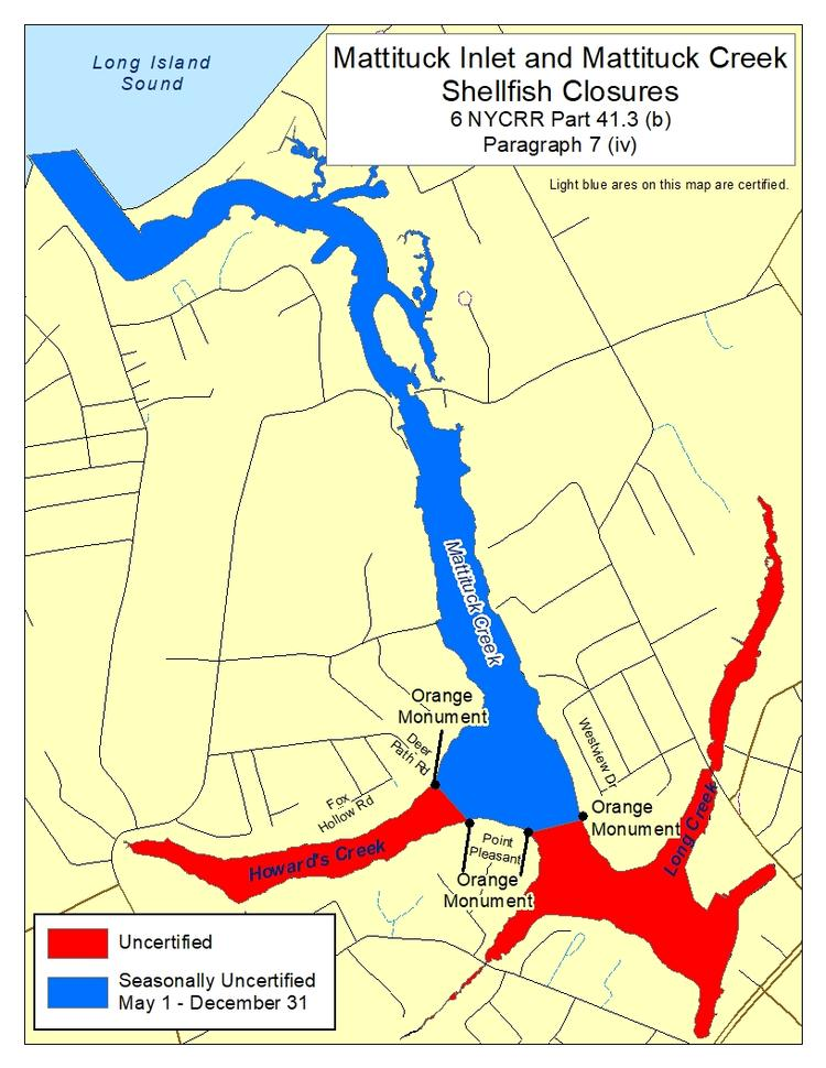 Mattituck Inlet an Mattituck Creek shellfish closures per Part 41.3, paragraph 7 (vi).