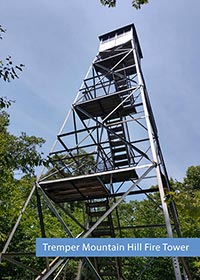 the Tremper Mountain Hill Fire tower shot from below looking up at the sky