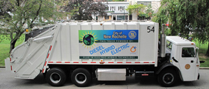 A photo of a new diesel-electric hybrid sanitation truck