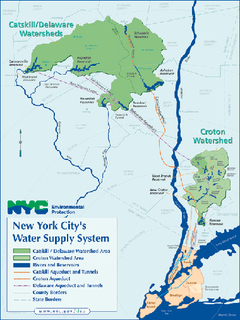 A map showing New York City's two major watershed/water supply areas on both sides of the Hudson River in southeastern NY