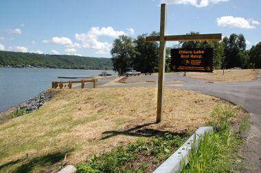 the new Otisco Lake Boat Launch sign