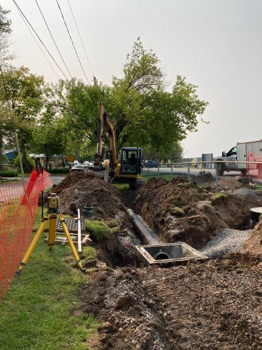 photo of section of sewer pipe system that has been dug up during upgrades