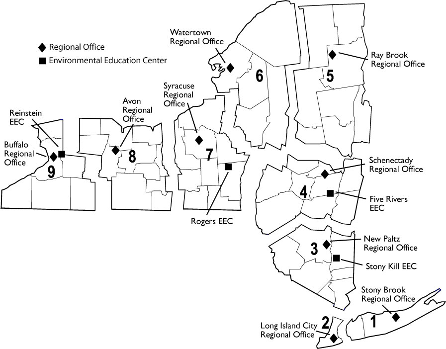 map showing DEC regions and offices