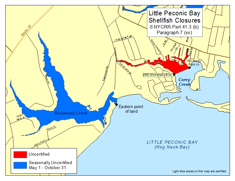 an image of Little Peconic Bay Shellfish Closures
