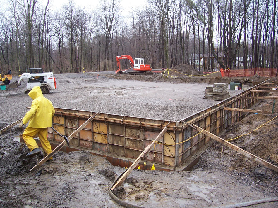Photo of the foundation being poured