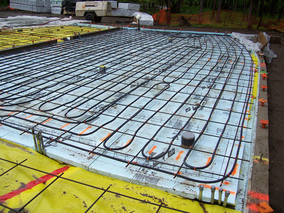 Photo of the concrete radiant floor