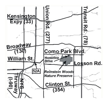 Map of where Reinstein Woods is located