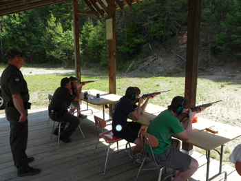 Campers participating in a Hunter Education Class