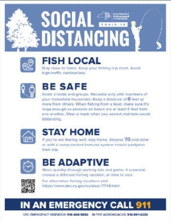 Social Distancing during fishing- fish local, be 6 ft away, stay home if older than 70, find a less crowded spot