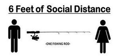 info graphic of two people standing a fishing pole length apart for social distancing
