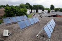 15 panel solar thermal array on roof