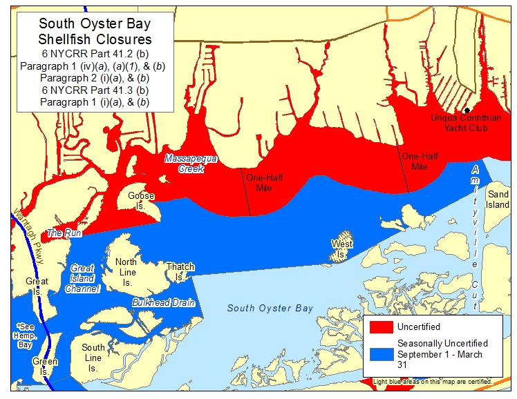 map showing South Oyster Bay shellfish closures