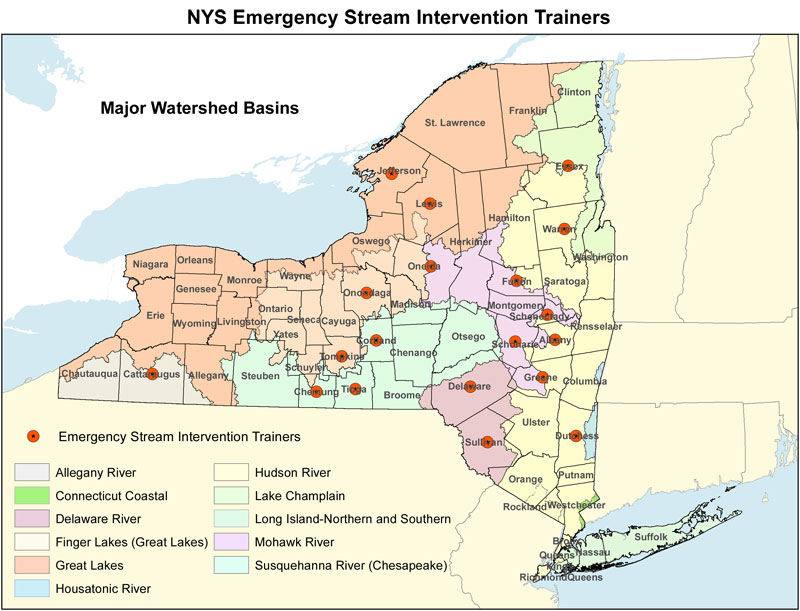 A map of NYS showing the major watersheds and the location of Emergency Stream Intervention Trainers