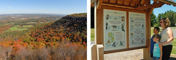 view from escarpment in fall, people looking at display