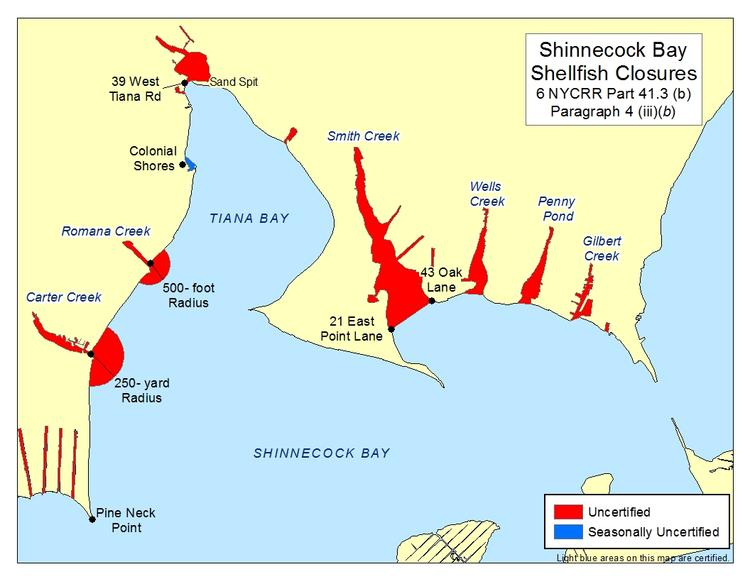 an image of Carter Creek, Smith Creek, and Tiana Bay Shellfish Closures