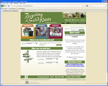 Picture of Tompkins County Recylcing and Solid Waste website page