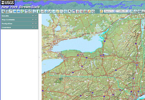 A screen shot of the USGS Streamstat web tool showing the tool bar and a map of a portion of NY