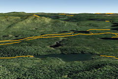 A google earth view of ski trails in a section of the Adirondacks