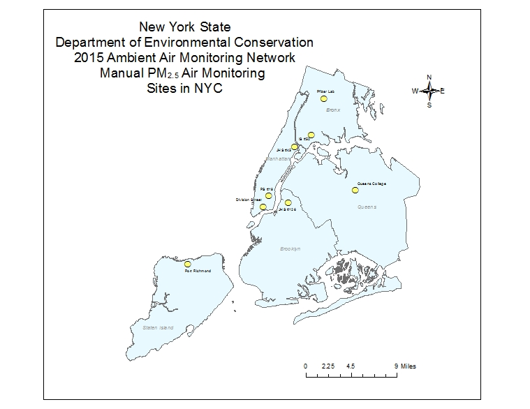 Map showing location of NYC FRM PM2.5 Monitors