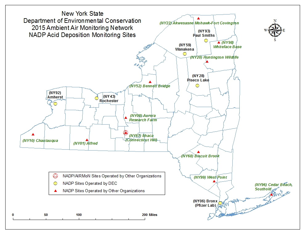 NY State ambient air quality monitoring map for atmospheric deposition monitors