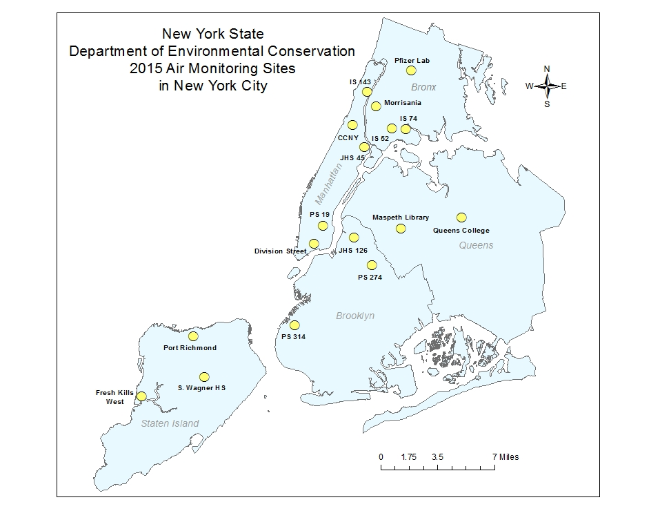 Map showing location of all air monitors in NYC area