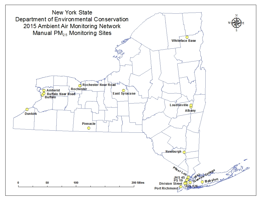 NY State ambient air quality monitoring map for FRM PM2.5 monitors