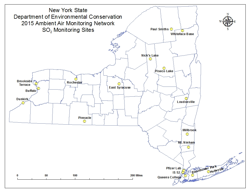 NY State ambient air quality monitoring map sulfur dioxide