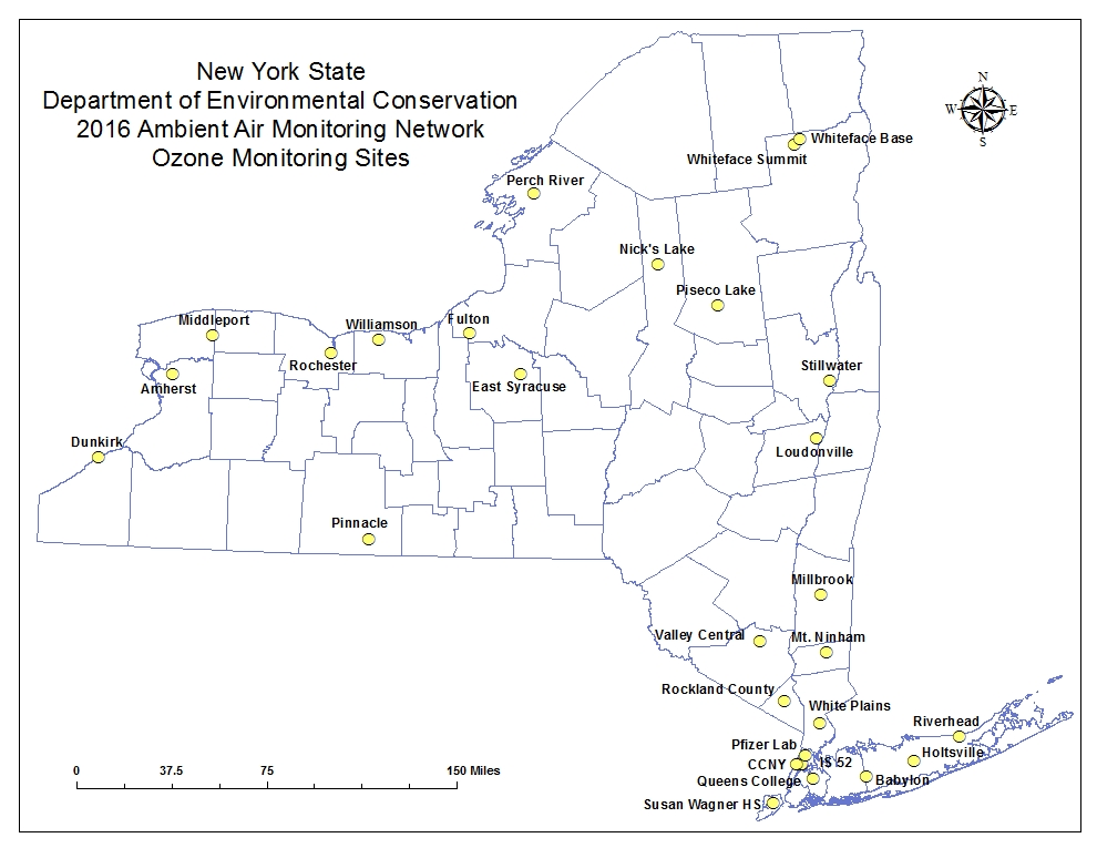 Map of ozone monitoring sites
