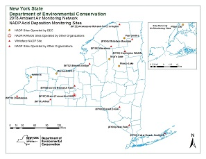 Map of the NADP sites that are operated by DEC and other participating NYS partners