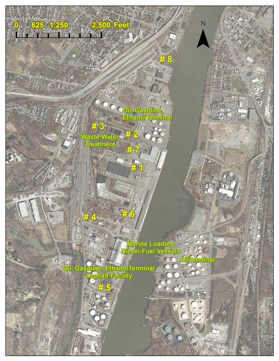 Map showing the locations where air monitoring sessions took place in the Port area.