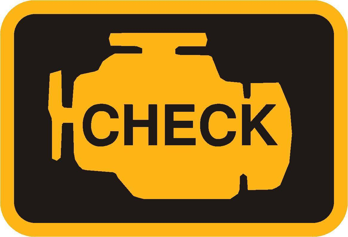 Sample of a check engine light - the shape of an engine