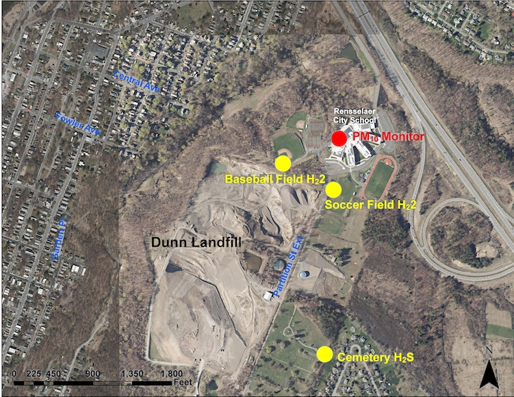 Location of H2S monitors in relation to the Dunn Landfill