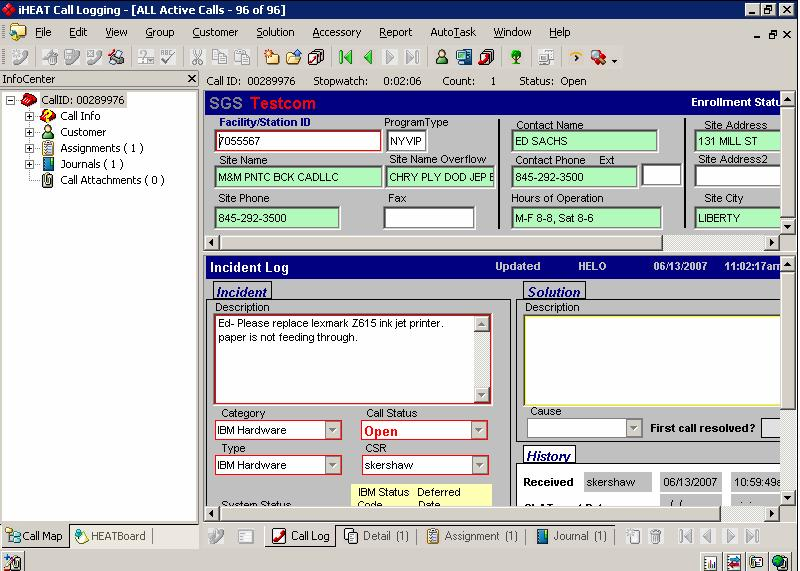 Screenshot of TESTCOM Help Desk transaction