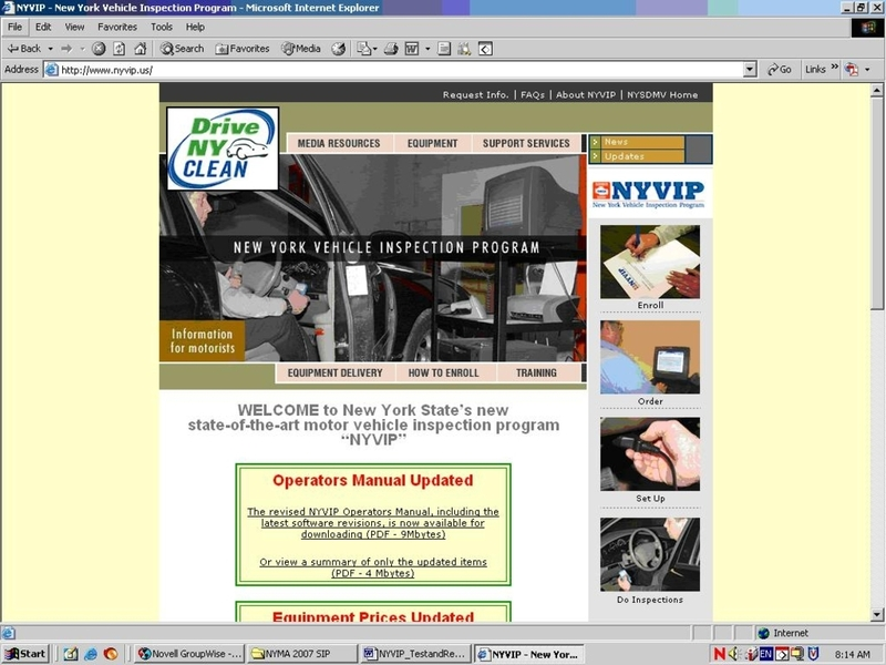 Screenshot of NYVIP Website main web page