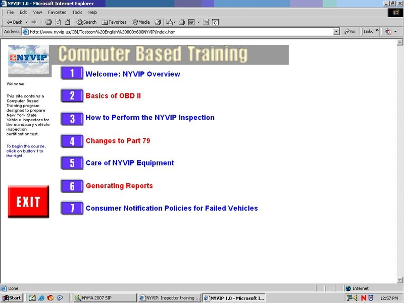 Screenshot of NYVIP Computer Based Training web page