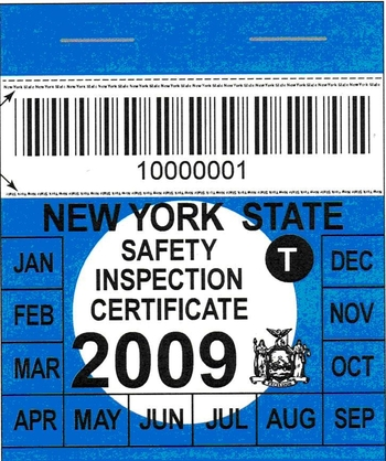 Auto Inspection Sticker Ny Satu Sticker