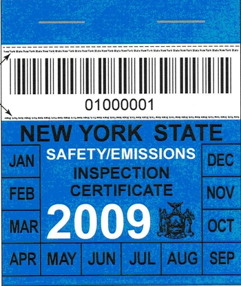 Image of NYS Safety/Emissions Inspection Certificate for 2009