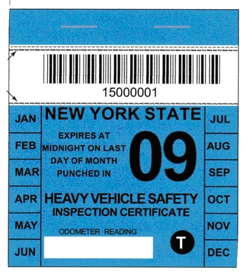 Image of NYS Heavy Vehicle Safety Inspection Certificate for 2009