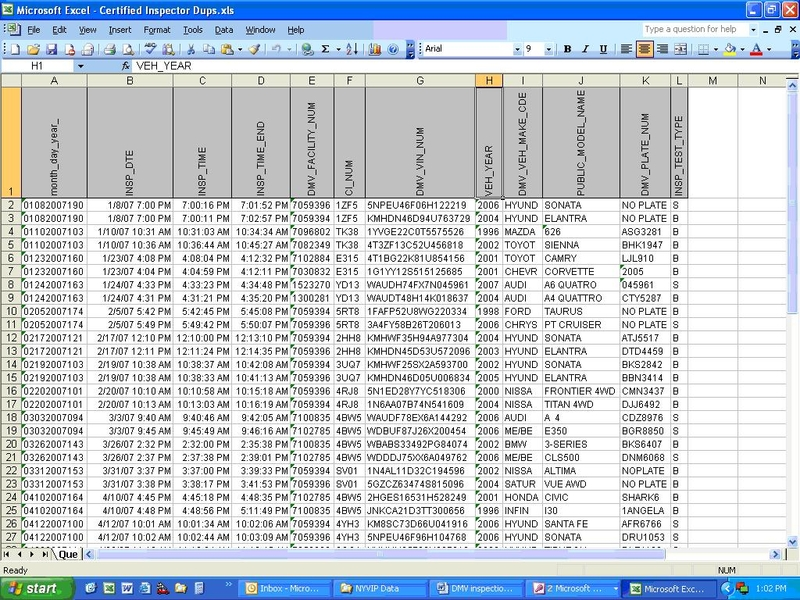 Screenshot of certified inspector duplicates data pull/report