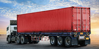 A large cargo container truck