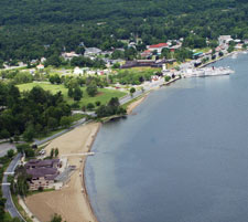 Aerial view of a scenic lakefront Adirondack hamlet
