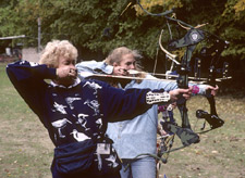 Women practicing archery