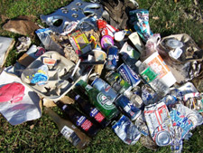 An assortment of plastic, glass, metal and other litter on the grass