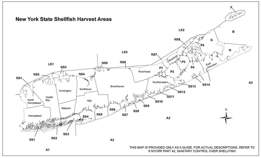 New York State Shellfish Harvest Areas Map