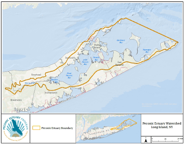 Shows the borders of the Peconic Estuary System